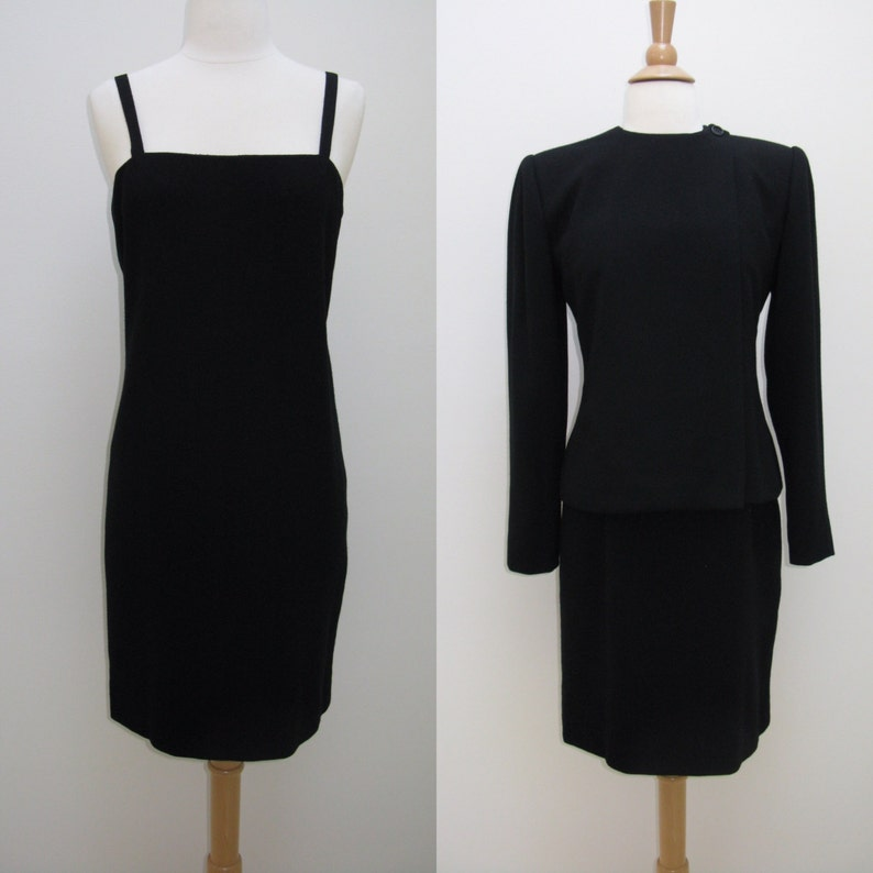 f86bd4c6859 Vintage 1970s 1980s Bill Blass Black Wool Dress Suit | Etsy