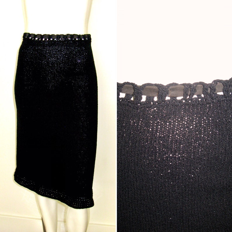 Vintage 1940s 1950s Black Knit Skirt and Top Set with Metal Zipper