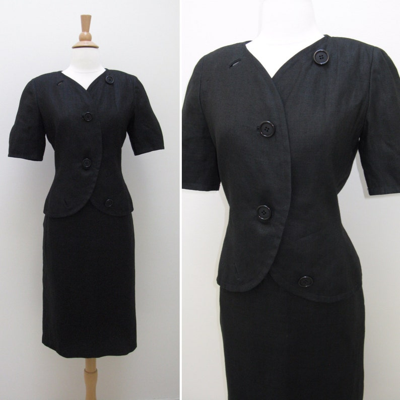 6f9bcc2e415 Vintage 1970s 1980s Bill Blass Short Sleeve Black Linen Skirt | Etsy