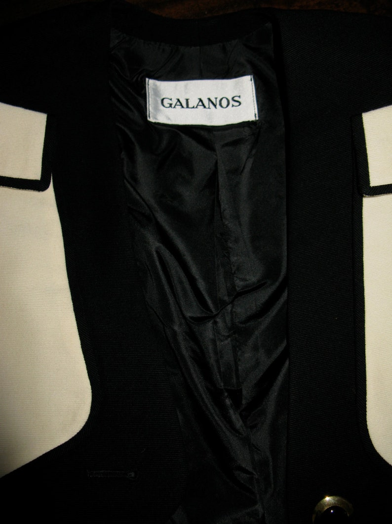 Vintage 1980s Galanos Ivory and Black Dress and Crop Jacket Set with Gold Buttons