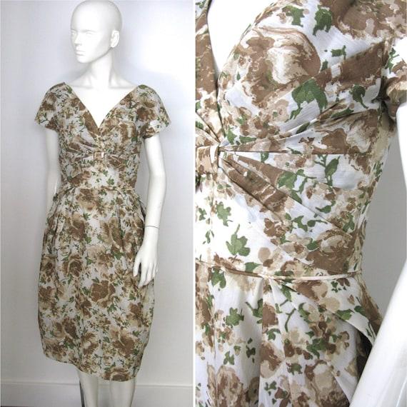 Vintage 1950s 1960s Peggy Hunt Floral Wiggle Dress