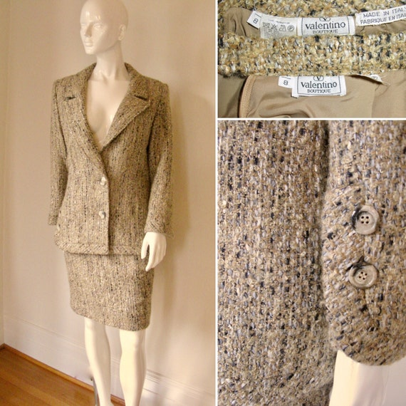 Vintage 1980s Valentino Boutique Tweed Skirt Suit