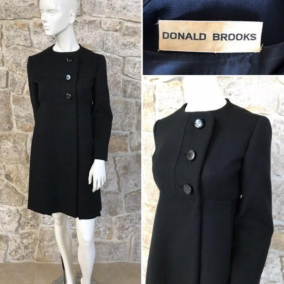 Fabulous Vintage 1960s Donald Brooks Black Wool Dr