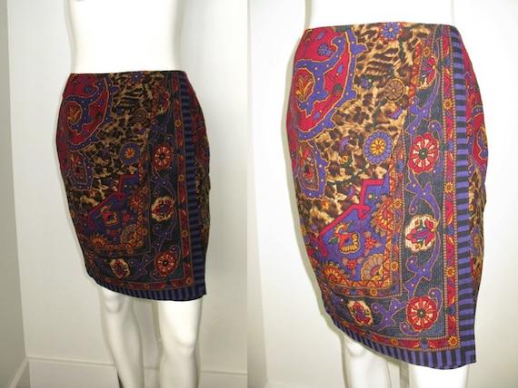 Vintage 1980s Emanuel Ungaro Wool Print Faux Wrap