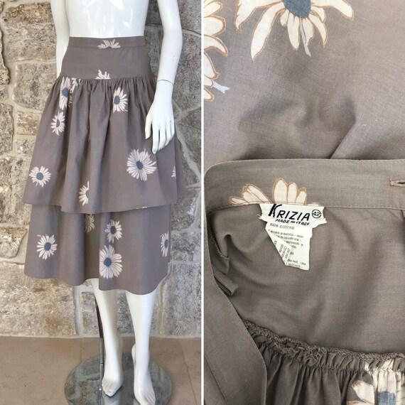 Vintage 1970s 1980s Krizia Floral Cotton Skirt