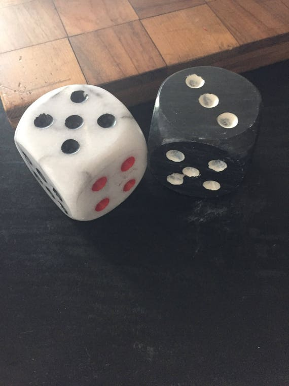 Pair of 2 Vintage Marble Dice
