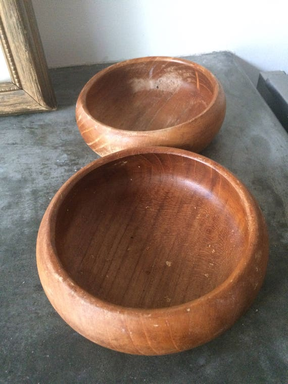Pair of Vintage Wood Bowls