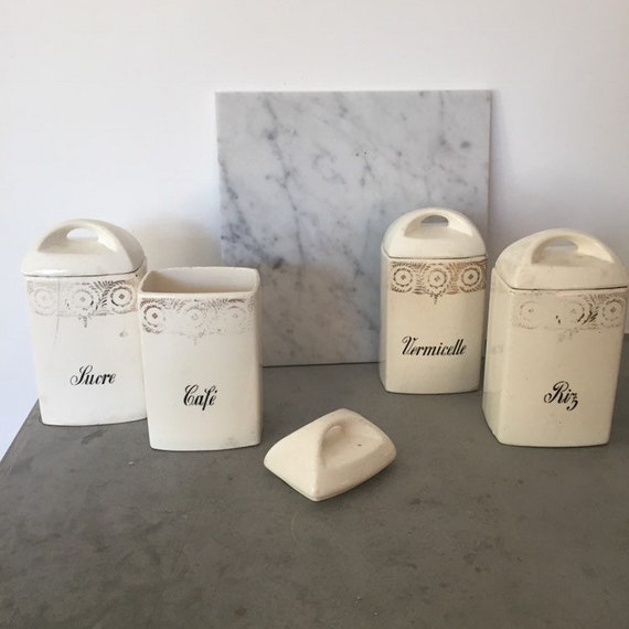 Set of 4 Moskau white jars