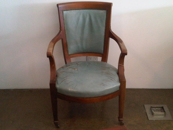 Antique Robins Egg Blue Leather Chair