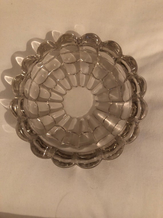 Clear Glass Scalloped Spider Web Ashtray