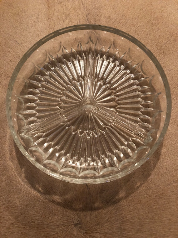Vintage depressed starburst clear glass bowl