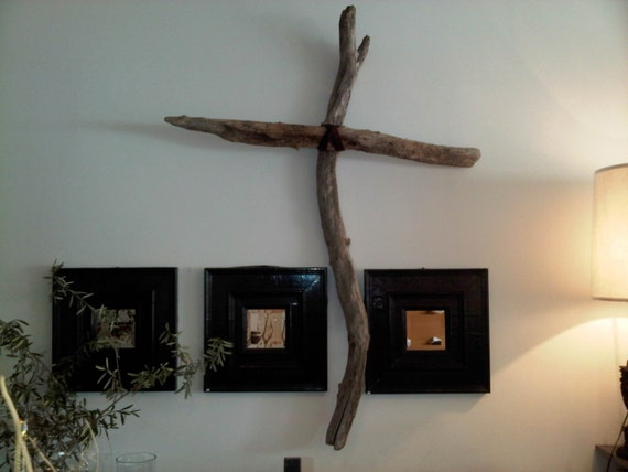 LARGE 6 Foot Driftwood Cross w/Leather Center-SOLD