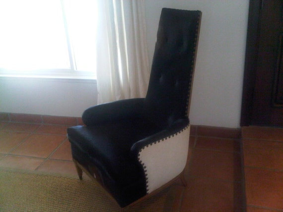 Circa 1920-1940's Regency Glam Chair recovered in Black and White cowhide with Nailheads