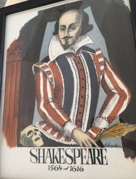 SET of 12 Framed Shakespeare character illustrations
