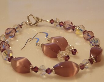 Amethyst Cat's Eye and Swarovski Crystal  Beaded Bracelet, Purple, Wedding, Bridesmaid, Gift, Simple Jewelry