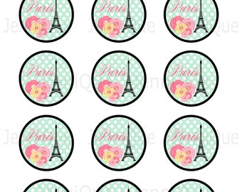 Printable Paris Theme Cupcake Toppers Parisian Themed Favor Tags Instant Download French Party Decorations Eiffel Tower