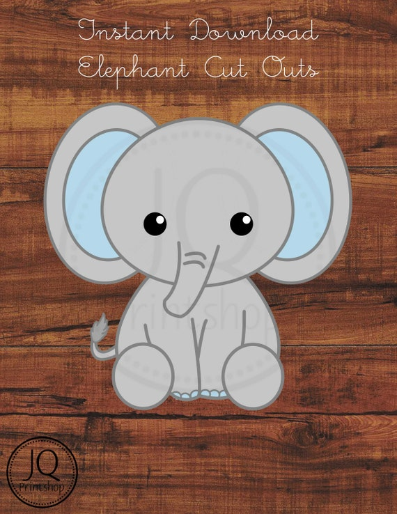 graphic relating to Printable Elephant Pictures identified as Printable Elephant Child Shower Decoration, Little one Shower Lower Out, Elephant Birthday Decor, Blue Grey Elephant, 3 measurements incorporated