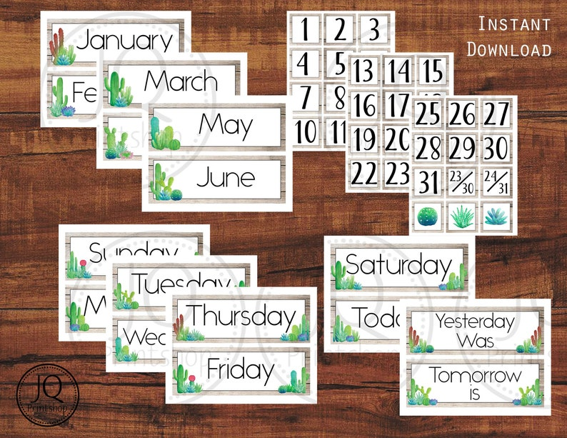 picture relating to Printable Classroom Calendar titled Printable Clroom Calendar, Cactus and Succulent Topic Clroom Wall Calendar Fixed, Clroom Decor Notion