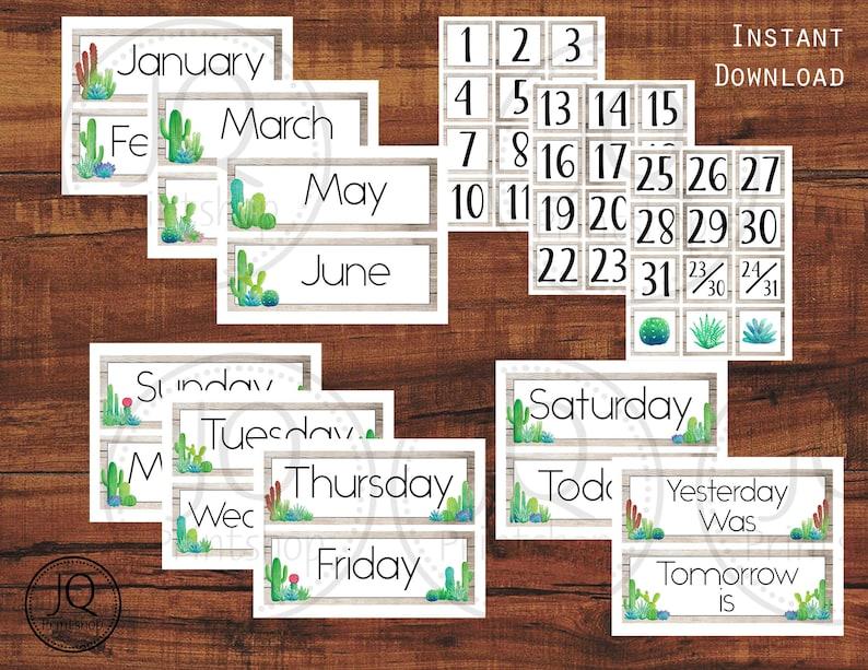 photograph regarding Printable Classroom Calendar identify Printable Clroom Calendar, Cactus and Succulent Concept Clroom Wall Calendar Mounted, Clroom Decor Concept