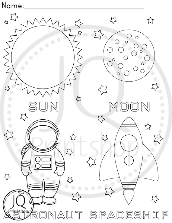 PRINTABLE Solar system theme color sheets, Planets Coloring Sheets,  Homeschool Activity, Preschool Activity, Solar System theme Party