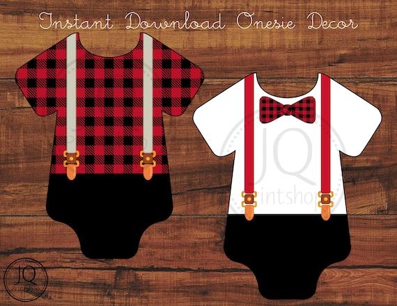 Printable Onesie Decoration Lumberjack Theme Baby Shower Onesie Banner Idea Onesie Decorating Station Decor Instant Download