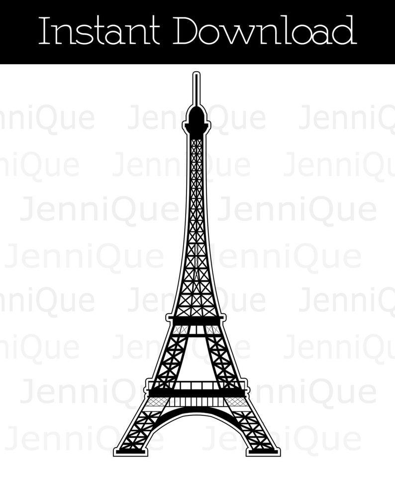 graphic about Eiffel Tower Printable named Printable Eiffel Tower Decoration, 2D Eiffel Tower Printable Decor, Celebration Printables, Child Shower Decor, Bridal Shower Decor, French Concept