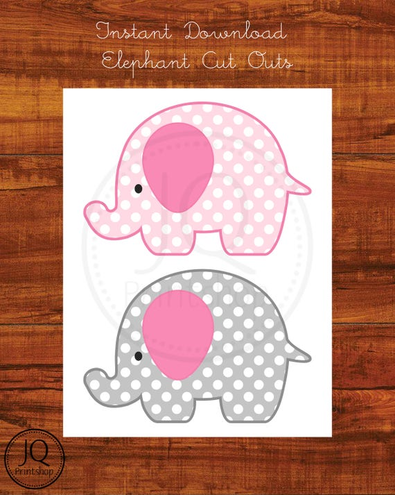 Lavender Polka Dot Elephant Party Cutouts Decorations Printable