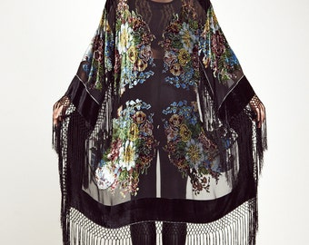 Velvet Fringe Kimono Jacket - Wild Flower Jacket