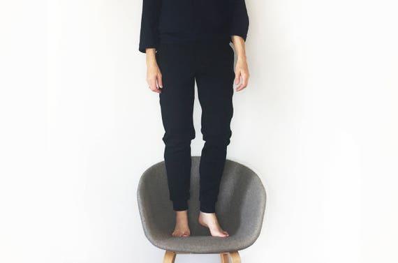 special for shoe footwear delicate colors CLASSIC merino wool sweatpants, women's lounge pants, heavy wool joggers,  black grey woollen trousers, Oeko-Tex certified (black)