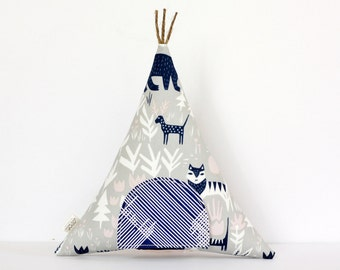 Tooth Fairy Pillow, Teepee Pillow, Forest Animals, Tipi, Kids Room Decor, Decorative Pillow, Children, Stuffed Toy, Keepsake, Gift For Kids