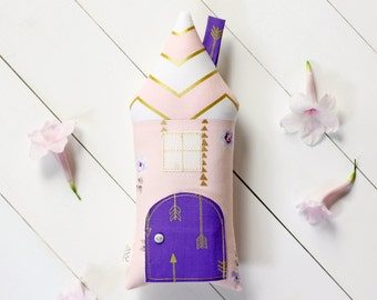 Tooth Fairy Pillow, Kids House Pillow, Gold, Purple and Pink, Girls, Floral, Arrows, Children Toy Secret Door Keepsake, Special Edition