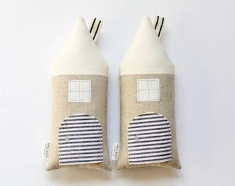 Tooth Fairy House Pillow, Decorative Pillow, Cottage, Neutral, Boys, Girls, Children, Stuffed Toy, Keepsake