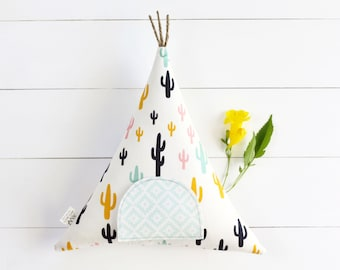Cactus Tooth Fairy Pillow,  Tooth Fairy Teepee, Gift for Kids, Tooth Fairy,  Boho Kids, Kids Gift,  Toy, Stuffed Toy, Tipi, Kids Decor,