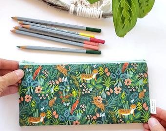 Jungle Tiger Rifle Paper Co. Pencil Bag, Zipper Pouch, Pencil Pouch, Jungalow Pencil Case, Botanical, Make Up Bag, Back to School,Pencil Bag