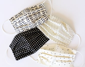 Cotton Reusable Reversible Washable Face Mask, Face Covering, Face Shield, Handmade, Around Ear face mask, Elastic Face mask, Pleated Mask