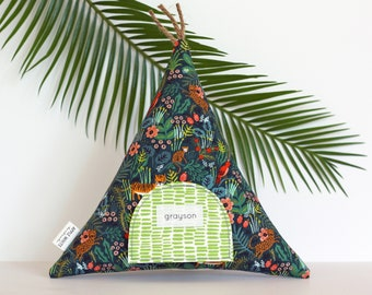 Jungle Teepee Tooth Fairy Pillow, Tooth Fairy Teepee, Gift for Kids, Tooth Fairy, Boho Kids, Kids Gift,  Toy, Stuffed Toy, Tipi, Kids Decor,