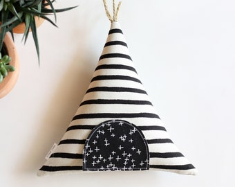 Black and White Teepee Tooth Fairy Pillow,  Tooth Fairy Teepee, Gift for Kids, Tooth Fairy,  Boho Kids, Kids Gift, Toy,  Stuffed Toy, Tipi,