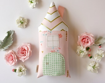 Blush Pink Tooth Fairy Pillow, Tooth Fairy House, Metallic Gold, Girls Children Toy Fairy Door Keepsake, Etsy Editor's Pick, Special Edition