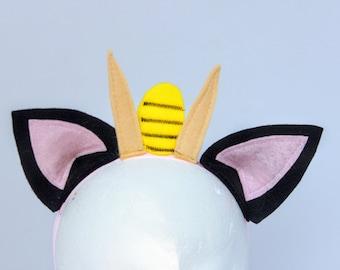 Pokemon headband - Pokemon ears - Meowth headband - Meowth ears and Whiskers headband