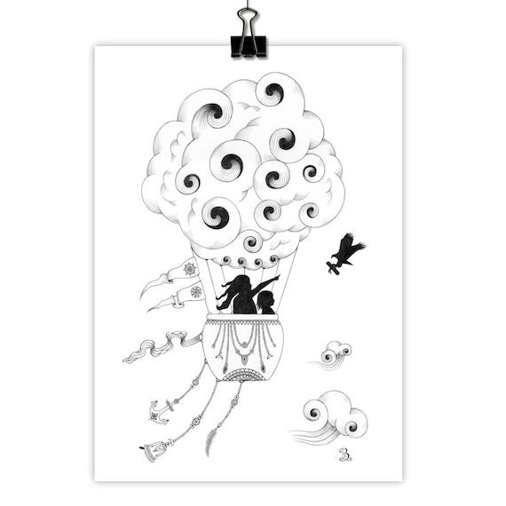 The Messenger Hot Air Balloon Art Print Wall Art Giclee Print Pencil Drawing