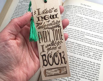 Wood Bookmark. Wood Pyrography. Adventure Quote.  Reading Quote. OOAK Gift. Book Nerd.  Book Lover. Unique Bookmark. Book Bag. Library.