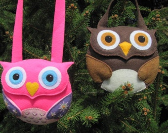 Little Girls Owl Purse Pattern Felt Purse Tutorial Owl Gift Bag Party Favor PDF Tutorial How To ePattern