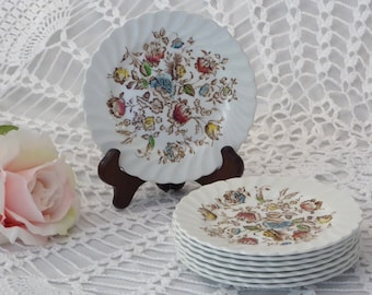 """EIGHT Vintage Staffordshire Bouquet Johnson Brothers Dessert/Bread Plates, 8 Staffordshire Bouquet Small Plates 6.25"""""""