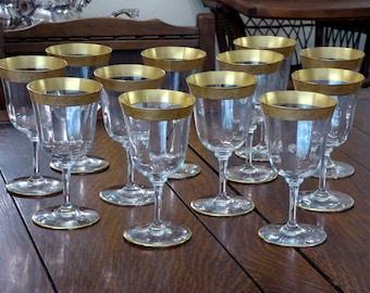 5892be9f15b 12 Vintage Gold Embossed Crystal Wine Glasses