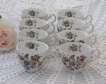 EIGHT Vintage Staffordshire Bouquet Johnson Brothers Cups, 8 Staffordshire Bouquet Flat Cups (ØP)