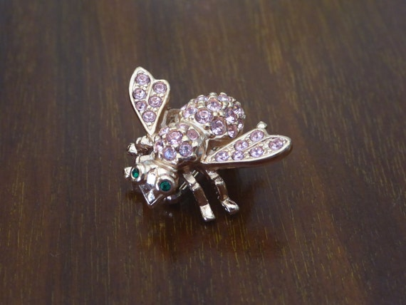 Pink Crystal Bee Rose Gold Tone Pin Joan Rivers, J