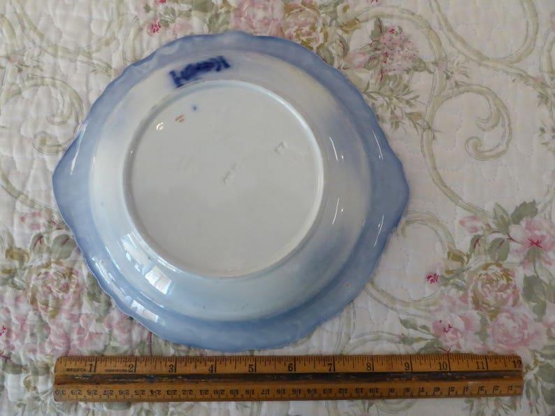 Touraine Flow Blue Serving Bowl 9.25 Stanley Pottery #329815 FB Antique Touraine Stanley Pottery England Semi Porcelain Vegetable Bowl