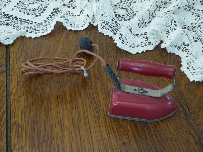 Vintage Miniture Red Iron Red Wood Handle Electric Cord Little Metal Iron Old Mini Red Travel Iron