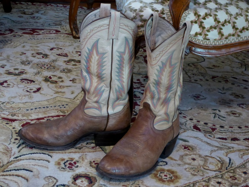 d4536844d6e Tony Lama 8.5D Mens Western Boots, Vintage Tony Lama Men's 8.5D Brown  Leather Stitched Western Cowboy Boots El Paso
