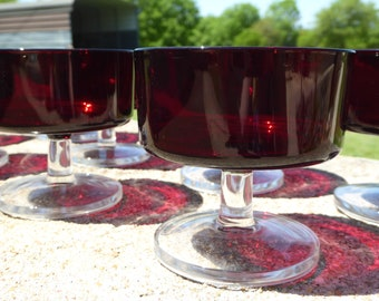 TEN Vintage French Champagne Coupes Glasses, J G Durand Luminarc Red French Short Sherbet Glasses, French Ruby Red Sherbert Glasses (ØA)